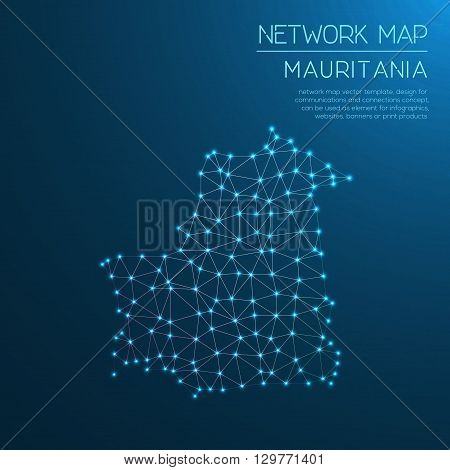 Mauritania Network Map. Abstract Polygonal Map Design. Internet Connections Vector Illustration.