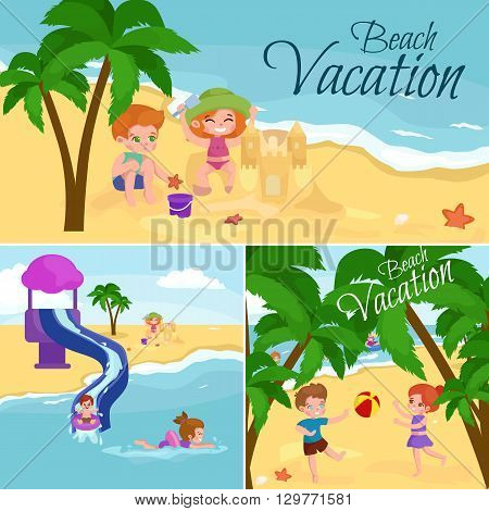 Children summer vacation. Kids Playing sand around water on beach. Cute little girl in a bathing suit and Funny boy Swiming in the sea.