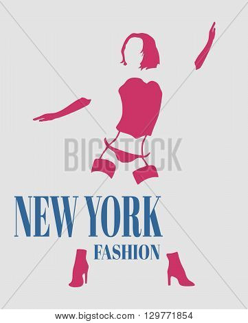 Sexy woman silhouette underwear fashion. Woman underwear. New York fashion text