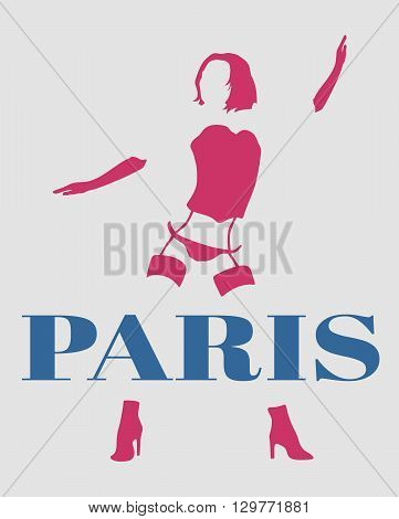 Sexy woman silhouette underwear fashion. Woman underwear. Paris text