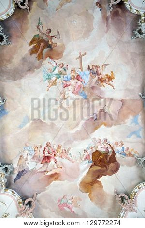 ZIEMETSHAUSEN, GERMANY - JUNE 09: Our Lady of Sorrows with angels and Saints, fresco on the ceiling of the Maria Vesperbild Church in Ziemetshausen, Germany on June 09, 2015.