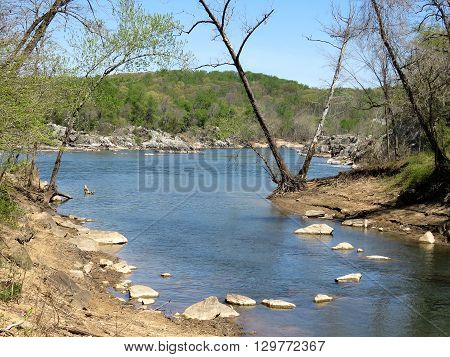 Landscape of Potomac River near Washington DC 18 April 2016 USA