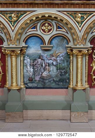 STITAR, CROATIA - AUGUST 27: Abraham's sacrifice of Isaac altarpiece on the altar of the Sacred Heart of Jesus in the church of Saint Matthew in Stitar, Croatia on August 27, 2015