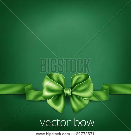 Green realistic silk ribbon bow. Vector illustration