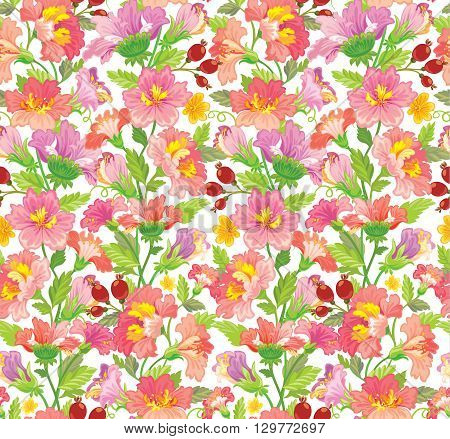 Vector illustration. Seamless flower patern in pink shades