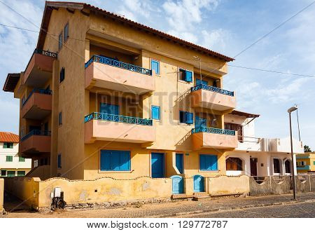 SANTA MARIA, CAPE VERDE - DECEMBER 17, 2015: Cape Verde architecture residential multi family house