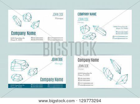 Collection of business cards with geometric outline shapes of crystals and minerals. Line style isolated on white background. Trendy hipster logotypes. Polygonal icons. Template design. Vector.