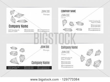 Collection of business card templates with geometric polygonal crystals minerals. Flat style design elements isolated on white background. Trendy hipster logotypes. Polygonal icons. Vector concept.