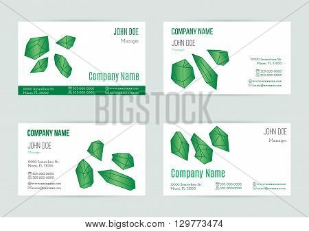 Collection of business card templates with geometric polygonal crystals minerals. Flat style design elements isolated white background. Trendy hipster emerald gem logotypes. Polygonal icons. Vector.