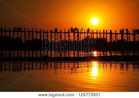 Sunset on U Bein Bridge, Amarapura, Myanmar Burma
