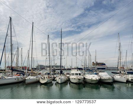 Yachts in the harbor of Livorno Tuscany Italy