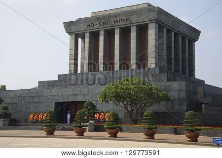 HANOI, VIETNAM - JANUARY 10, 2016: Ho Chi Minh mausoleum close-up. The landmark of Hanoi, Vietnam