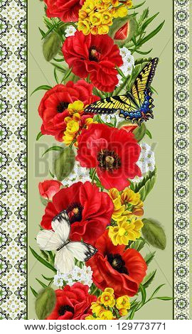 Vertical floral border. Pattern seamless. Flower garland of red poppies white flowers green leaves yellow flowers butterflies.
