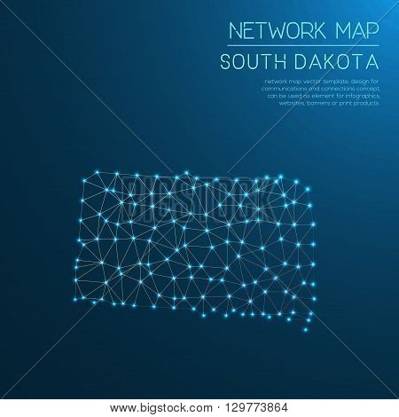 South Dakota Network Map. Abstract Polygonal Us State Map Design. Internet Connections Vector Illust