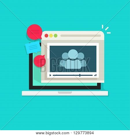 Video conference vector concept, business meeting, remote education, learning internet service, video website, laptop computer browser video player modern illustration design isolated, blue background