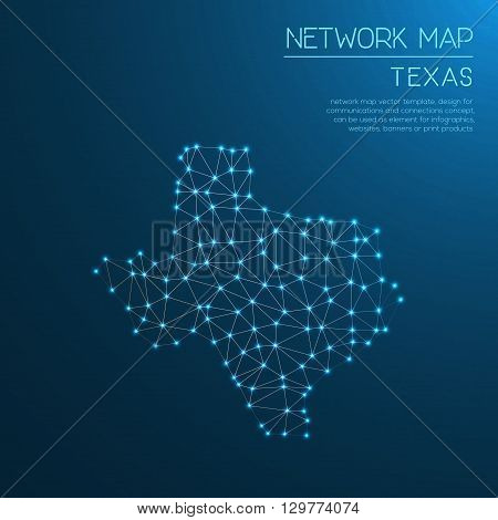 Texas Network Map. Abstract Polygonal Us State Map Design. Internet Connections Vector Illustration.