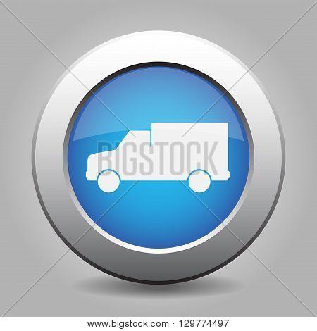 blue metal button - with white van icon