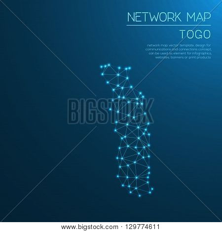 Togo Network Map. Abstract Polygonal Map Design. Internet Connections Vector Illustration.