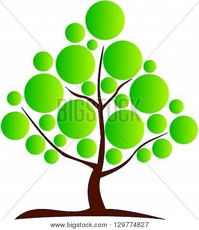 deciduous tree ,vector ,green tree with a brown trunk