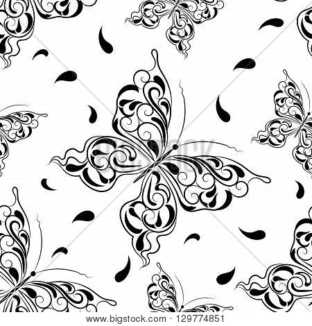 Beautiful seamless background of butterflies in black and white style.