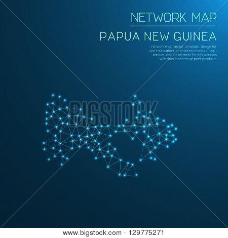 Papua New Guinea Network Map. Abstract Polygonal Map Design. Internet Connections Vector Illustratio