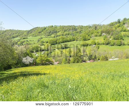 sunny illuminated idyllic rural springtime scenery in Hohenlohe a district in Southern Germany