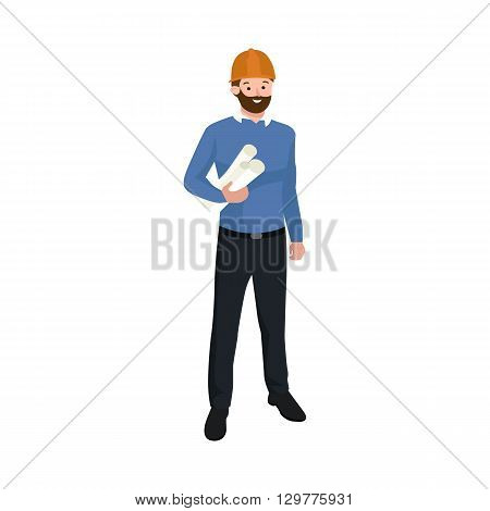 Civil engineer, architect or construction worker man vector illustration. Worker man