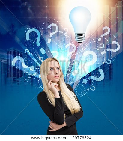 Thoughtful businesswoman found answer to questions. Idea concept