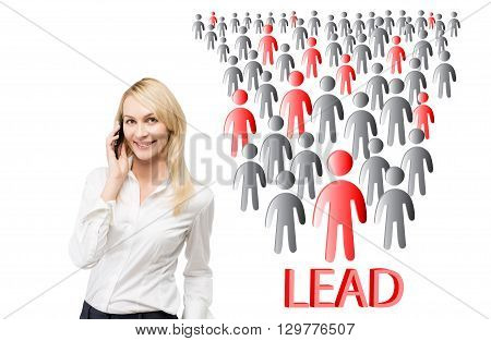 Lead generation concept with businesswoman on phone next to people icons