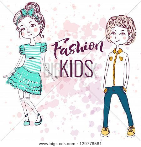 Fashion style kids illustration. Trendy sketch of boy and girl on inky background.