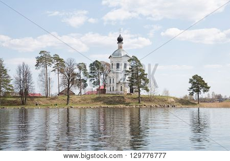 Seliger landscape in the spring. Church of Exaltation of the Cross Nilov Monastery