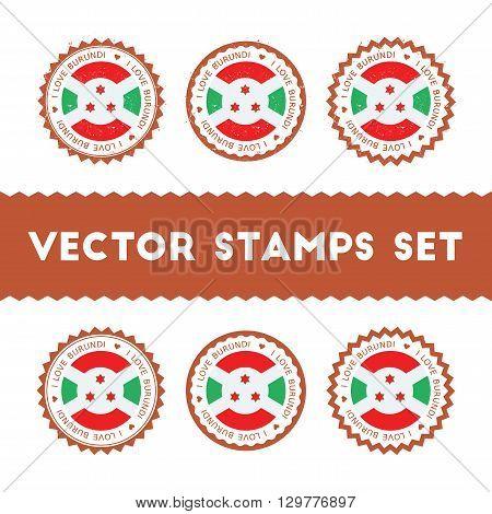 I Love Burundi Vector Stamps Set. Retro Patriotic Country Flag Badges. National Flags Vintage Round