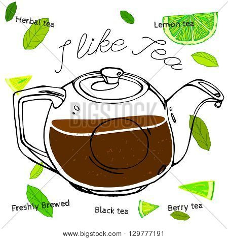 Hand drawn tea-pot image in artistic style. Vector editable illustration on a textured dark gray background. White round ceramic teapot. Menu element for cafe or restaurant. I like tea concept.