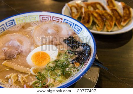 Mukashi Chashu Ramen With Boiled Egg And Gyoza.