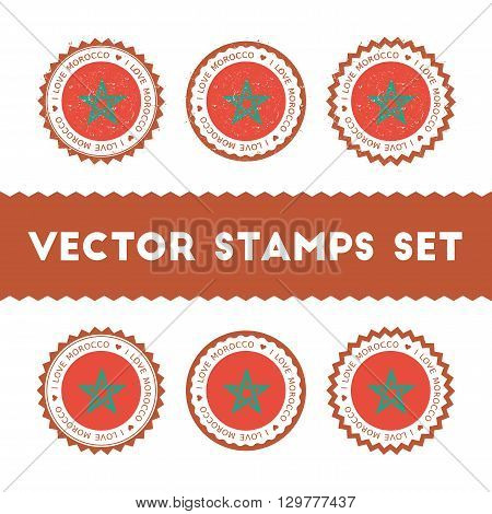 I Love Morocco Vector Stamps Set. Retro Patriotic Country Flag Badges. National Flags Vintage Round