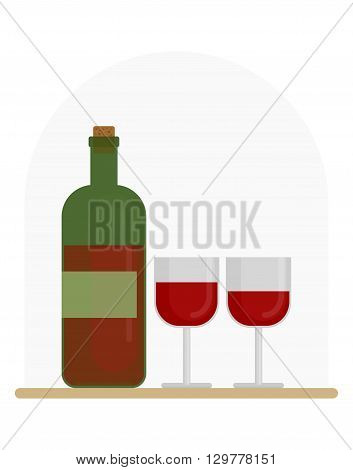 Bottle of wine and two glasses of wine glass. restaurant images. Cartoon flat vector illustration. Objects isolated on a background.