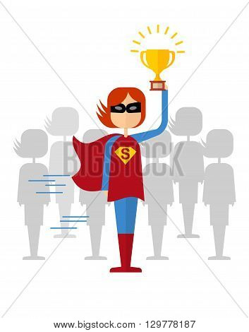 Girl Superman Won With Cup