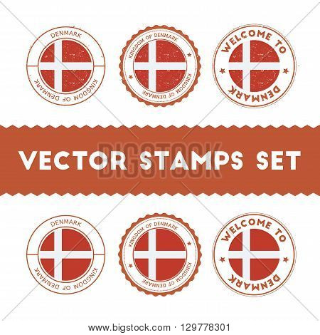 Danish Flag Rubber Stamps Set. National Flags Grunge Stamps. Country Round Badges Collection.