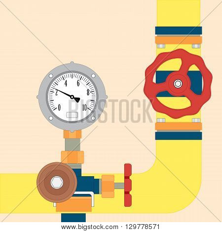 The gas pipe and the pressure sensor. Vector image symbolizing the supply of gas through the pipeline
