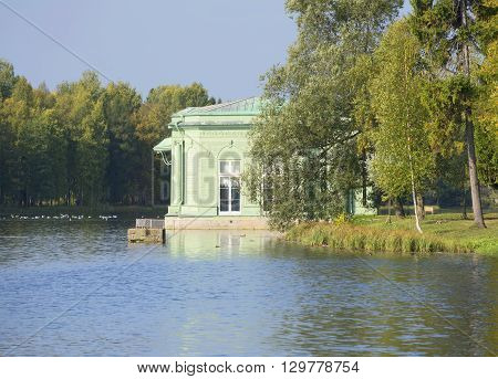 September evening at White lake at the pavilion of Venus. Gatchina Palace Park, Russia