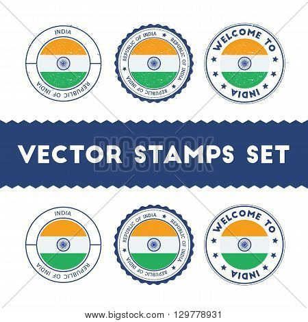 Indian Flag Rubber Stamps Set. National Flags Grunge Stamps. Country Round Badges Collection.