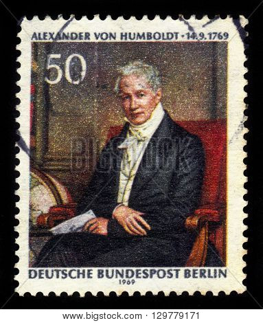 GERMANY - CIRCA 1969: a stamp printed in Germany shows portrait Alexander von Humboldt (  prussian geographer, naturalist, explorer) by Joseph Stieler, circa 1969