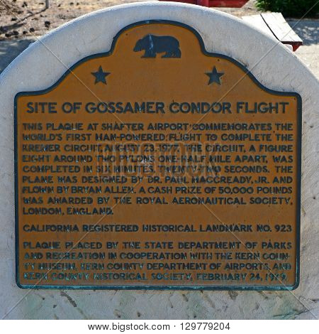 KERN COUNTY, CA - MAY 15, 2016: The plaque at Minter Field commemorates the historic flight of the Gossamer Condor, the first human powered aircraft to achieve sustained flight.