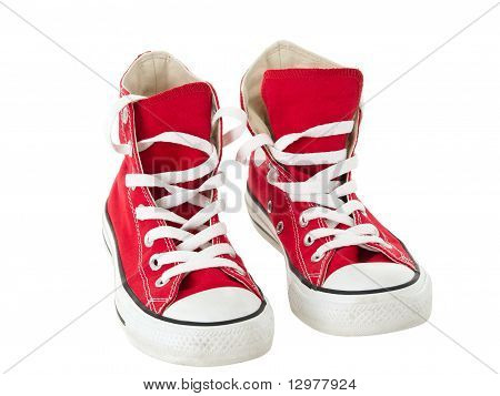 Vintage Hanging Red Shoes On Pure White Background