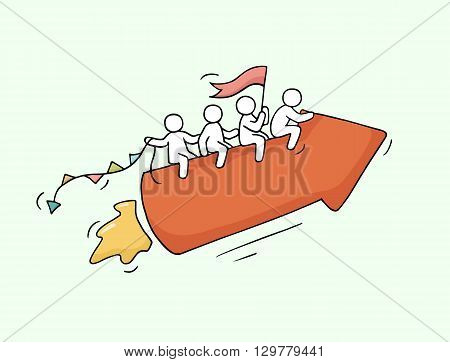 Sketch of working little people with arrow teamwork. Doodle cute miniature scene of workers. Hand drawn cartoon vector illustration for business design and infographic.