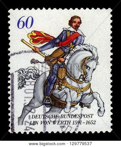 GERMANY - CIRCA 1991: a stamp printed in Germany shows portrait Count Johann von Werth, was a german general of cavalry in the Thirty Years' War, circa 1991