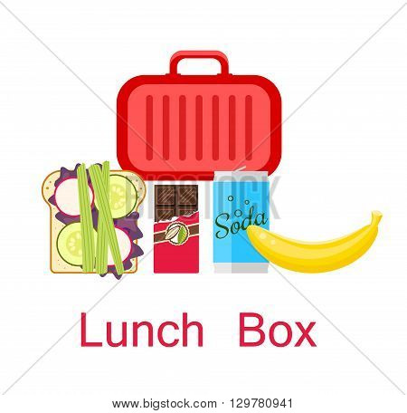 Lunch box vector. Lunch bag with sandwich, soda, chocolate and banana.