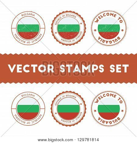Bulgarian Flag Rubber Stamps Set. National Flags Grunge Stamps. Country Round Badges Collection.