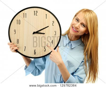 Young attractive woman holds a clock, isolated on white