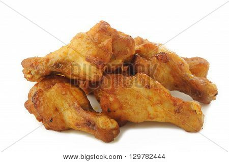 grilled new orlean chicken wing on white background